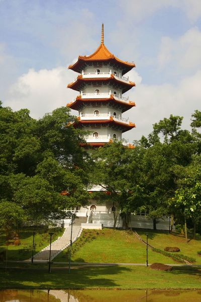 A pagoda in the Singapore Chinese gardens Architecture ASIA Building Exterior Built Structure Chinese Garden Cloud - Sky Day Grass Growth Nature No People Outdoors Pagoda Place Of Worship Sky Spirituality Tranquil Scene Travel Destinations Travel Photography Tree