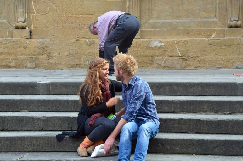 Kissing anyway Ben Copy Space Faces In Places Kids Love Staircase Togetherness Triangle