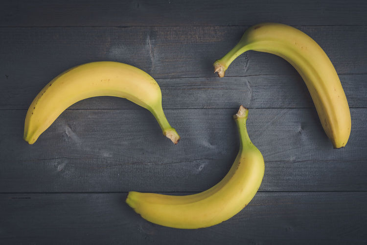 High angle view of bananas on table