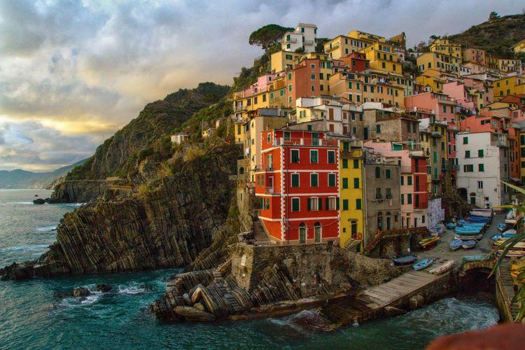 Italian Riviera- Rio Maggiore Sea Building Exterior Built Structure Building Sky Nature No People