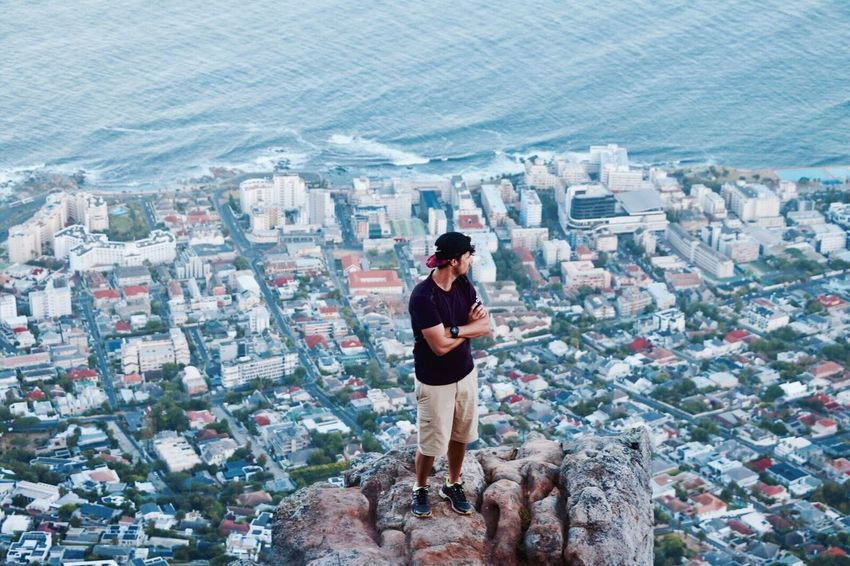 Capetown from above Lionshead High Angle View Single Person Cityscape Overview One Person City Architecture City Waking Up Early Morning Outdoors