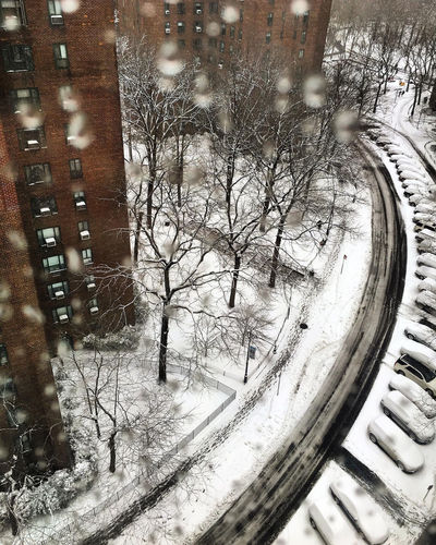 Snow Day Through the Window Architecture Bare Tree Building Exterior Built Structure Cold Temperature Day Nature No People Outdoors Snow Snowing Transportation Tree Weather Window Winter