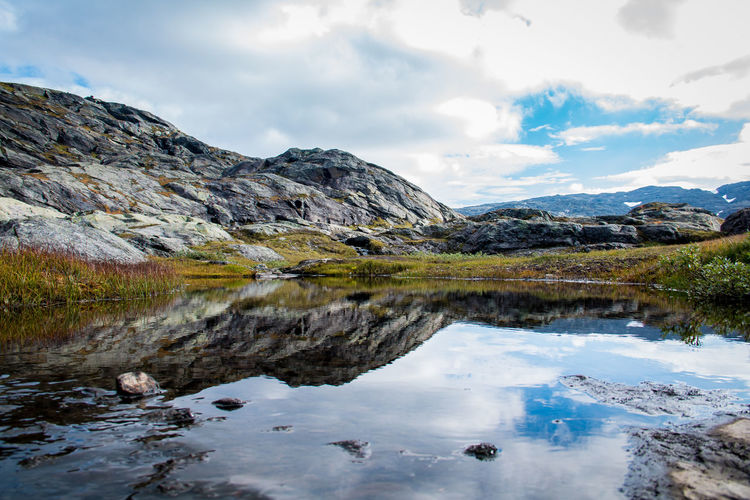 Beauty In Nature Cloud - Sky Colors Day Hiking Lake Landscape Mountain Mountain Range Nature No People Norway Outdoors Reflection Scenics Sky Tranquil Scene Tranquility Wallpaper Water Waterfront