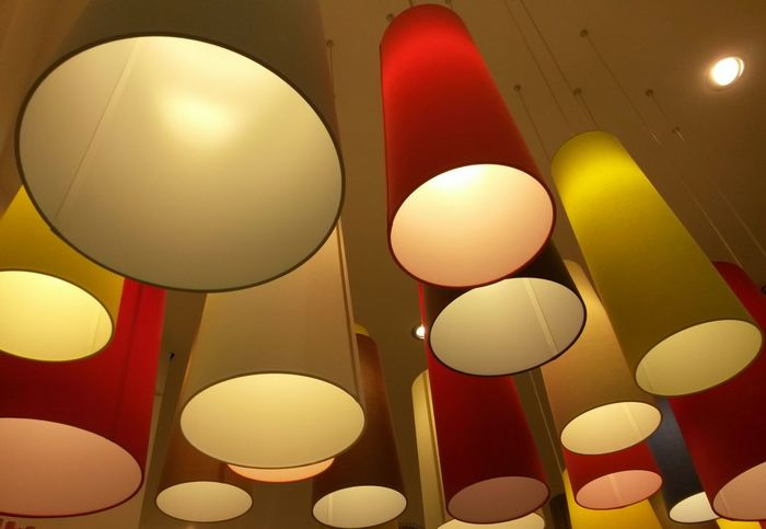 No People Full Frame Backgrounds Indoors  Day Red Yellow Light Lamps Collection Lamps Lamps And Lighting Circles Pattern Architecturephotography Indoorsphotography Indoor Architecture Indoor Art