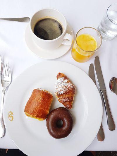 Breakfast Drink Plate High Angle View Dessert Sugar Sweet Food Food And Drink Black Coffee Donut Beverage Coffee Tea Hot Drink