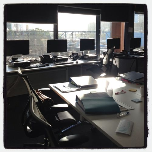 Training room in morning light
