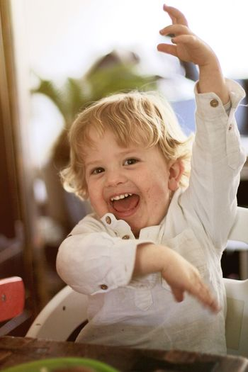 Jolly Yelling Fun Childhood Real People Blond Hair Boys Smiling One Person Happiness Portrait Indoors  People Looking At Camera Child Day