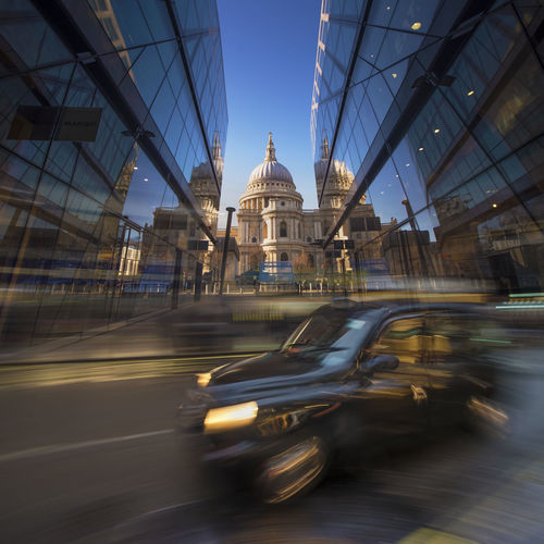 London double exposure St Paul's Cathedral London Iconic Blackcab Taxi Long Exposure Double Exposure Different Perspective