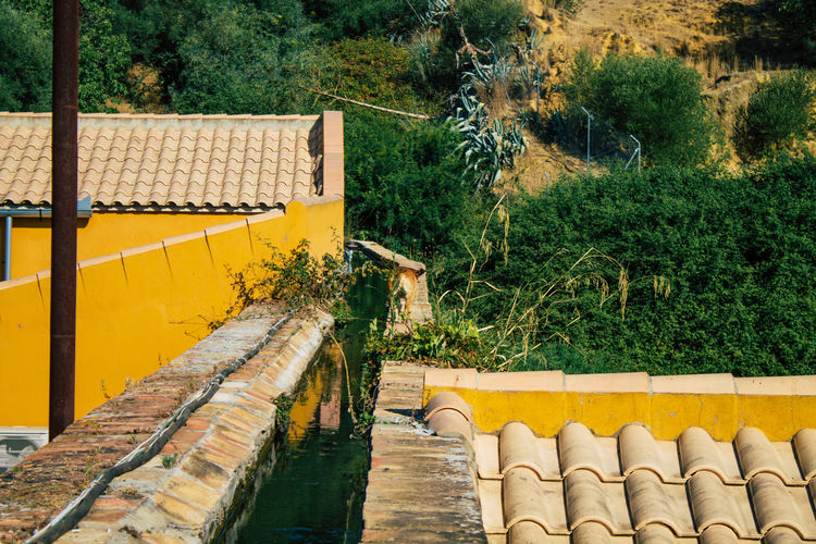 High angle view of yellow roof and building