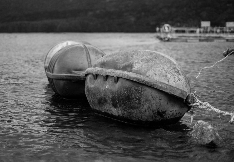Close-up of buoy in river