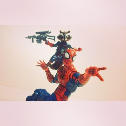 Who says Racoons and spiders cant be friends? Spidey Spiderman Classicspiderman Marvel Hasbro Disney Infiniteseries Peterparker Mcu Webhead Rocketracoon Figures Bestfriends Marvellengends GaurdiansOfTheGalaxy Marveluniverse Figures Webwarriors Figurecollecting Collectors Collection Webhead Spideyverse