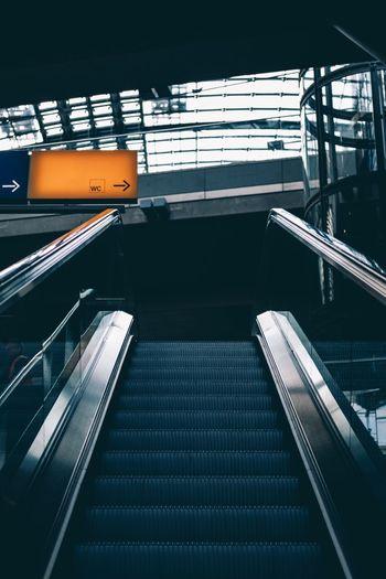 View of escalator at railroad station