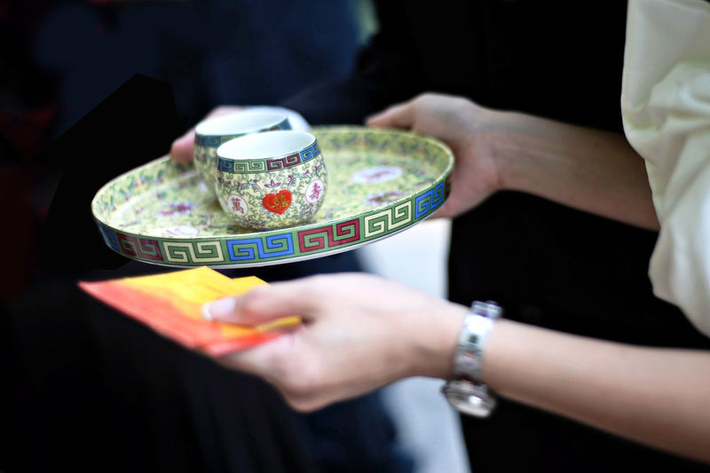 Cropped hands of woman holding empty tea cups in plate