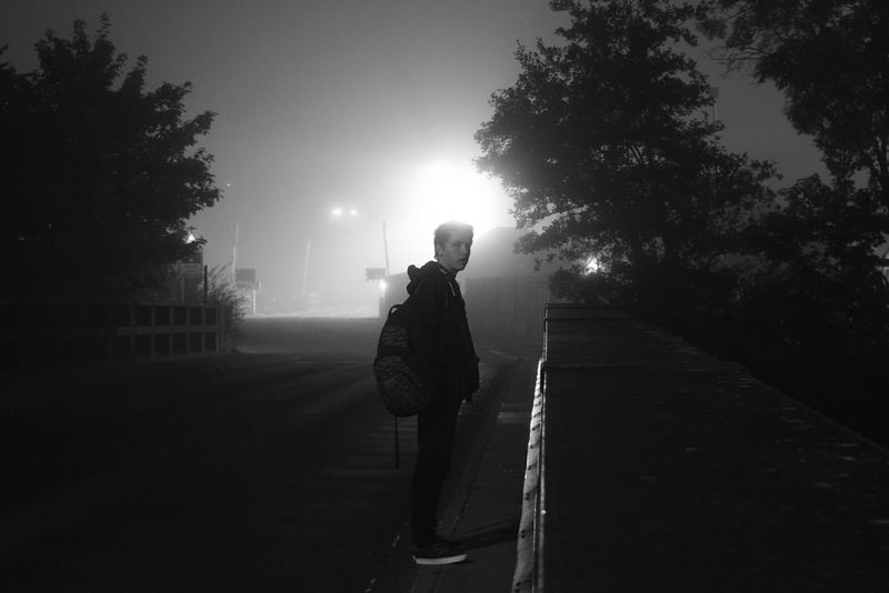 Dark Night Halo Silhouette Boy Black And White Road Chilling Hazmus Professional