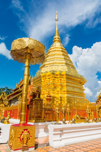 Wat Phra That Doi Suthep. Chiang Mai, Thailand Ancient Architecture Blue Buddha Buddhism Building Exterior Built Structure Chiang Mai Cloud Culture Day Doi Suthep Gold Colored Golden Landmark Monument Outdoors Place Of Worship Religion Religious  Sky Spirituality Temple Temple - Building Thailand
