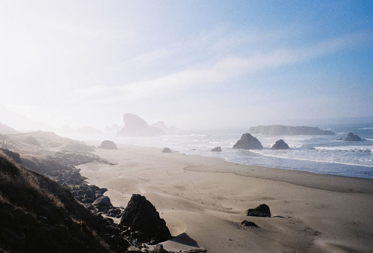 Analogue Photography Exploring Oregon Pacific Northwest  Beach Beauty In Nature Cloud - Sky Day Film Photography Filmcamera Filmisnotdead Fog Land Landscape Mountain Nature Ocean Oregon Coast Outdoors Pacific Ocean Roadtrip Scenics - Nature Sea Sky Tranquility