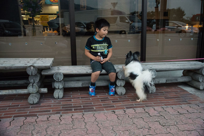 A boy and a dog waiting for parents in the front of supermarket Boy Casual Clothing Day Dog Leisure Activity Lifestyles Mammal Outdoors Portrait Sitting Street Scene Streetphotography Supermarket Window Young Ultimate Japan Two Is Better Than One Snap A Stranger