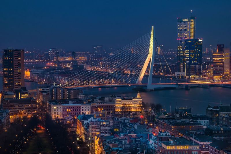 Erasmusbrug and illuminated cityscape at night