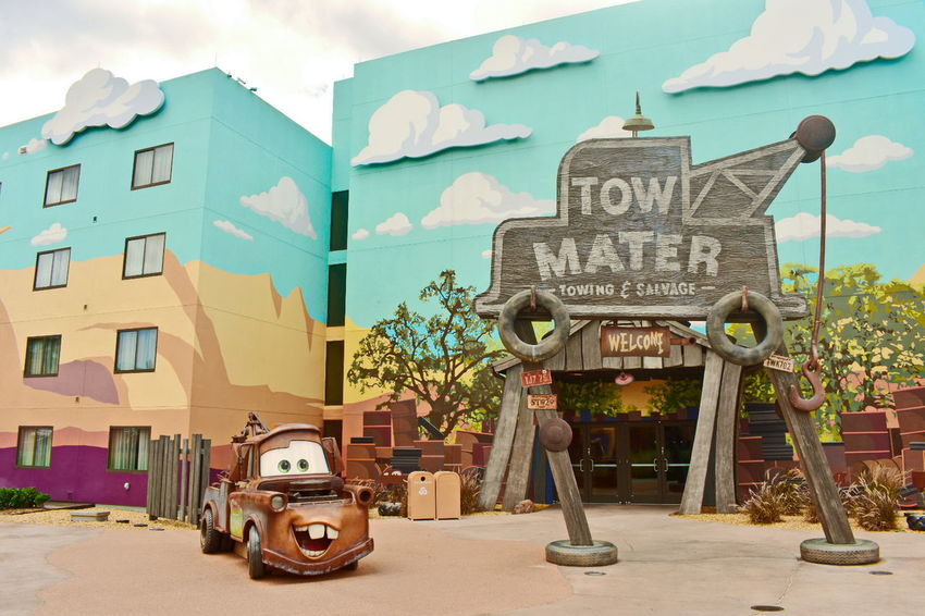 Orlando, Florida USA ; August 03, 2018 Funny Tow Mater, Moderate Hotels in Orlando, Florida Walt Disney World DisneyWorld Disney Hotels Balloon Disney Store Taxi Boat Mickie Mouse Coca Cola Planet Hollywood Restaurant Art Decor Shopping Rollercoaster Disney Springs Attraction Theme Park Boardwalk Fireworks Summer Show Travel Tourism Italian Food Latin Food Magic