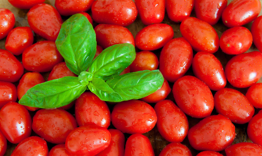 Full Frame Shot Of Wet Tomatoes