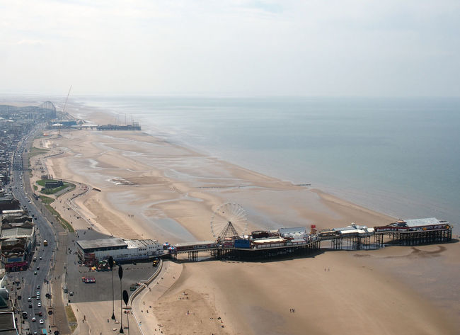 aerial view of blackpool showing the south and central piers Blackpool Coastline Lancashire Pier Aerial View Beach England Resort Sea Tourism