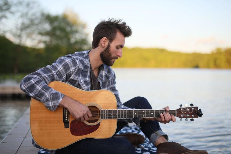 Beard Beautiful Casual Clothing Guitar Hand Landscape Man Music