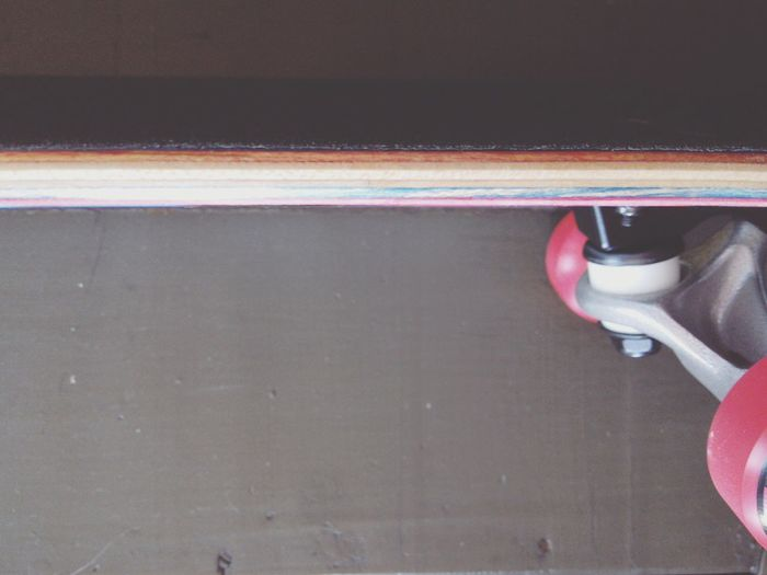 Skateboard Detail Red Wheels Plies Horizontal Lines Wood - Material Multi Colored Close-up Minimalism Sport Equipment Red Color Layers New