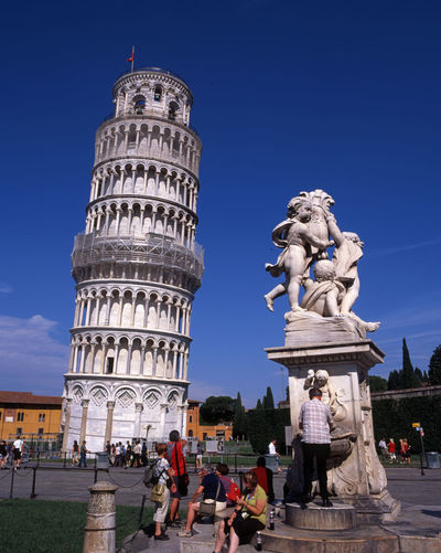 Pisa Statue Blue Sky Day Italy Leaning Tower Of Pisa Marble Structures Mideval Structures Stone Tourist Destination