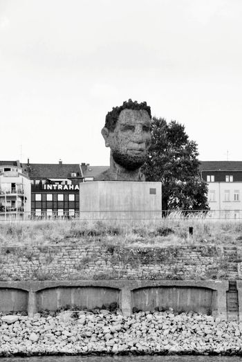 Poseidon in Ruhrort No People Blackandwhite Statue Lüpertz Harbour Cruise City Old Ruin King - Royal Person Sky Architecture Building Exterior Built Structure