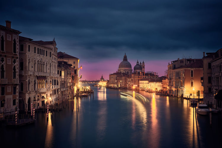 Night on the Grand Canal Boat Canal Lifestyles Night Sky Travel Travel Destinations Venezia Venice Venice, Italy Venise Wae