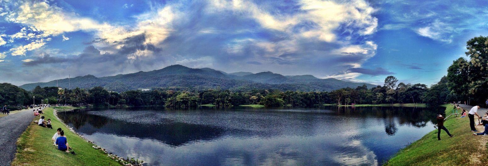Panorama Lake Evening Sky