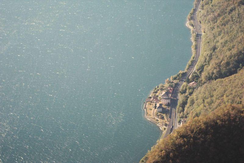 Aerial view of coastal road at seaside
