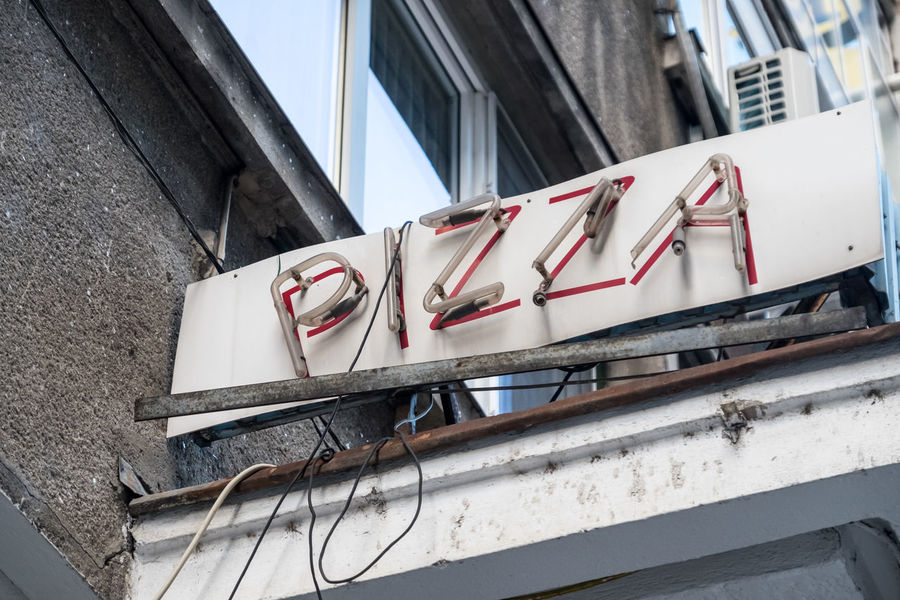 Pizza sign Architecture Building Exterior Built Structure City Close-up Day No People Outdoors Pizza Pizza Shop Pizza Time Shop Sign Signboard