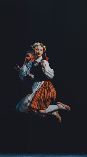 Traditional Latvian folk dance. Clothing One Person Smiling Happiness Indoors  Stage Arts Culture And Entertainment Traditional Clothing Costume Full Length Dancing Real People Young Women Women Stage - Performance Space Young Adult Performance