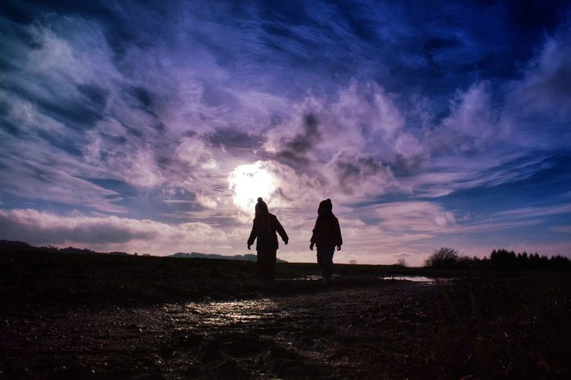 Silhouette Sibling On Field Against Sky During Sunset