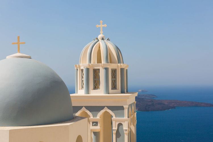 Close-Up Of Church By Aegean Sea Against Sky