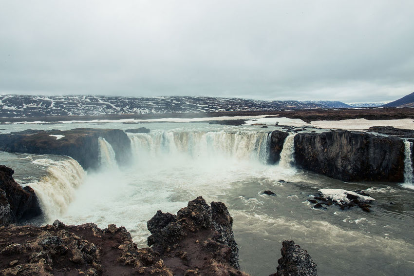 """Days of travel: 9 - Goðafoss, the """"waterfall of the gods"""", Northeastern Region Iceland Landscape_Collection Nature Beauty In Nature Blurred Motion Flowing Flowing Water Landscape Long Exposure Motion Nature No People Outdoors Power In Nature Rock Rock - Object Scenics - Nature Sea Sky Solid Water Water_collection Waterfall Waterfall_collection Waterfalls The Great Outdoors - 2018 EyeEm Awards"""