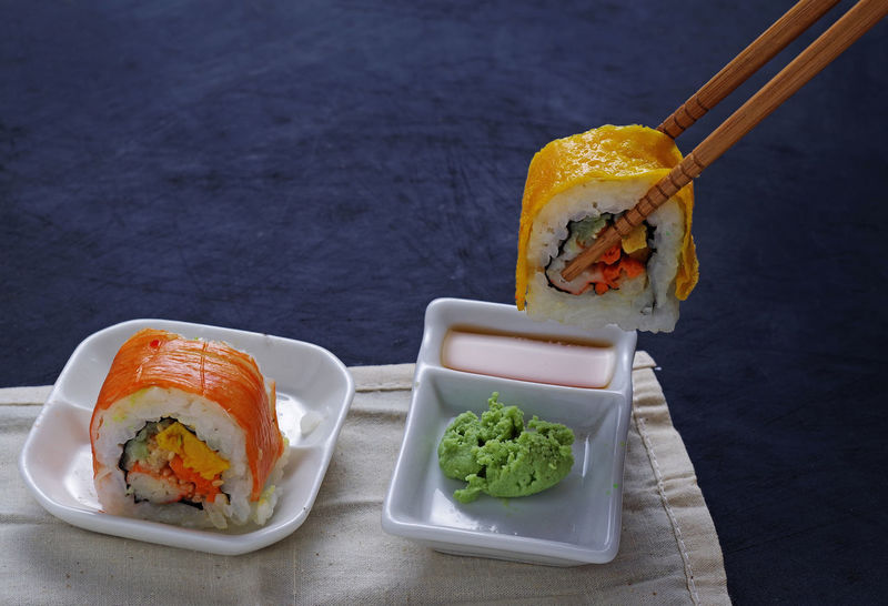 Chopsticks Colorful Comfort Food Dipping Food Food And Drink Freshness Healthy Eating Indoors  Japanese Food No People Picking Plate Quality Ready-to-eat Roll Serving Size Studio Shot Table Wasabi WASHOKU