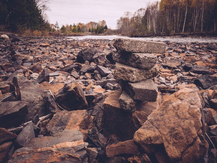 Surface level of rocks near river