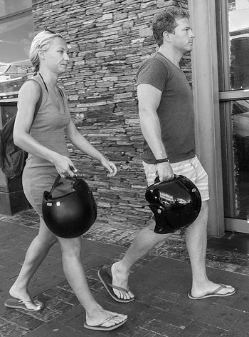 Blackandwhite Candid Candid Photography Couple Full Length Helmets Side View Streetphotography Two People Urban Walking
