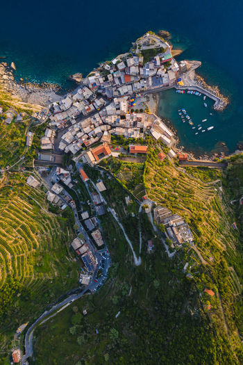 Vernazza, Italy. What type of animal do you see? Week On Eyeem Aerial Shot Drone  Drone Photography Dji Mavic 2 Pro Cinque Terre Italy Architecture High Angle View Outdoors Scenics - Nature Building Water House Landscape Travel Vernazza Australian Photographers Aerial View Sea No People Residential District Capture Tomorrow