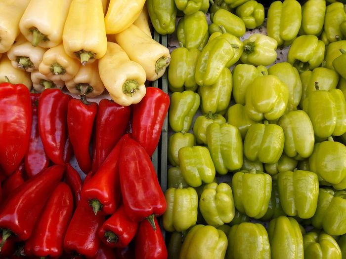 Full frame shot of bell peppers for sale at market stall