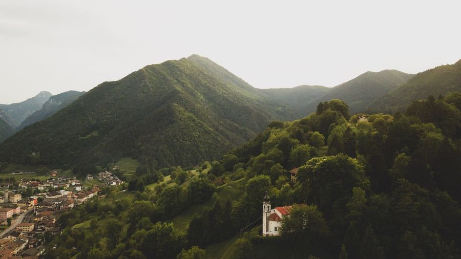 Drone view of Chiesa Di San Giorgio EyeEm Best Shots Mountain Tree Sky Plant Scenics - Nature Beauty In Nature Nature Mountain Range No People Tranquility Landscape Architecture Tranquil Scene Built Structure Green Color Day Outdoors Environment Land Growth
