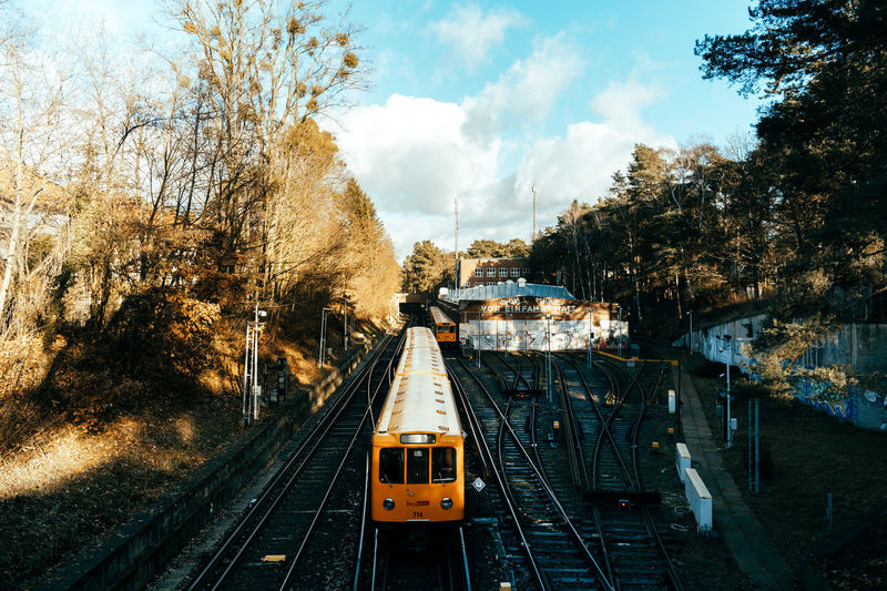 Railroad tracks amidst trees in city against sky