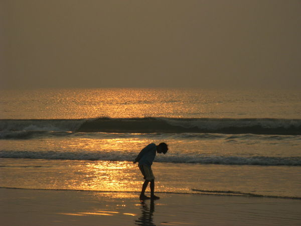 Silhouette Sea Beach Sunset Children Only One Person Child Outdoors Vacations India Digha