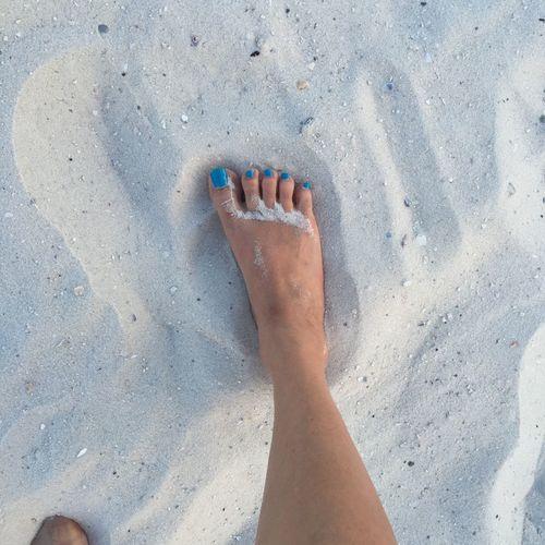Beach Human Body Part Human Leg Nail Polish Real People Sand Toes Women Blue Wave
