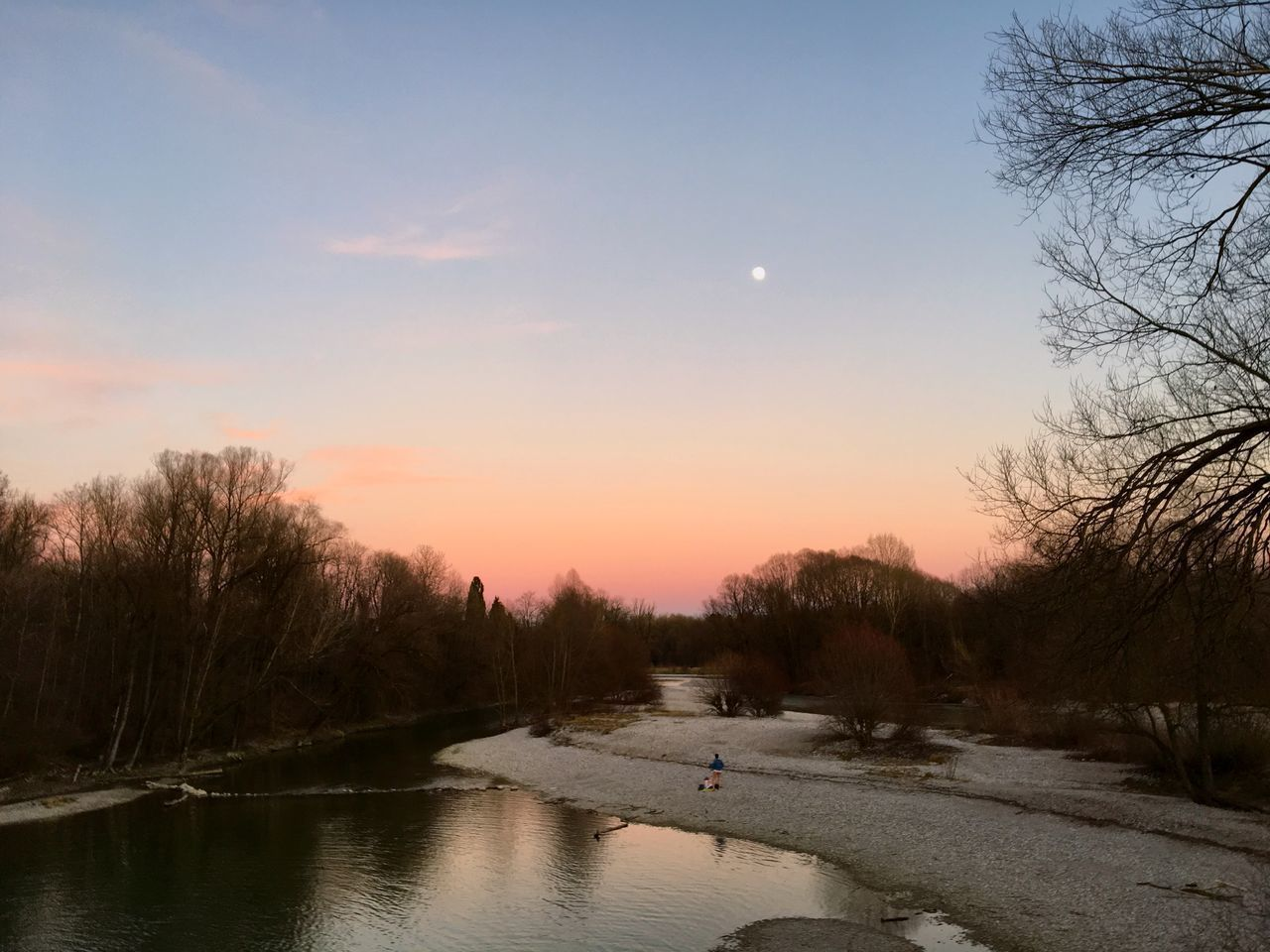 sunset, water, tree, nature, sky, river, beauty in nature, scenics, tranquil scene, tranquility, bare tree, reflection, outdoors, no people, moon, landscape, nautical vessel, day