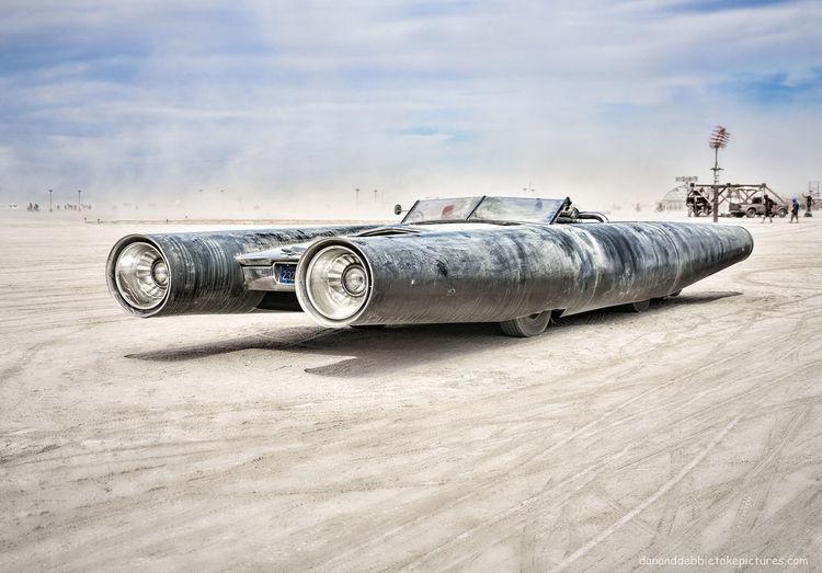 Rocket Car--Burning Man Show-n-Shine Black Rock City Burning Man Car Desert HotRod Muscle Car Mutant Vehicle Nevada Rocket Car