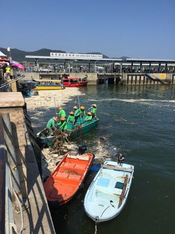 Harbour Cleaning After Typhoon Water Sea