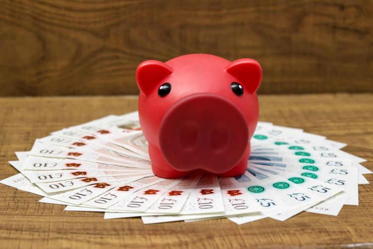 Close-Up Of Red Piggy Bank On Paper Currencies